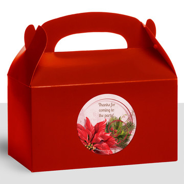 Poinsettia Holiday Personalized Treat Favor Boxes (12 Count)