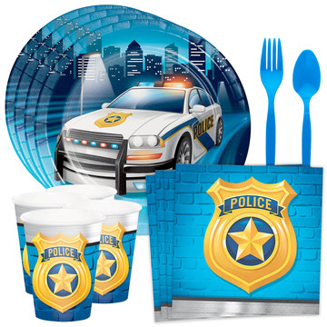 Police Party Standard Tableware Kit (Serves 8)