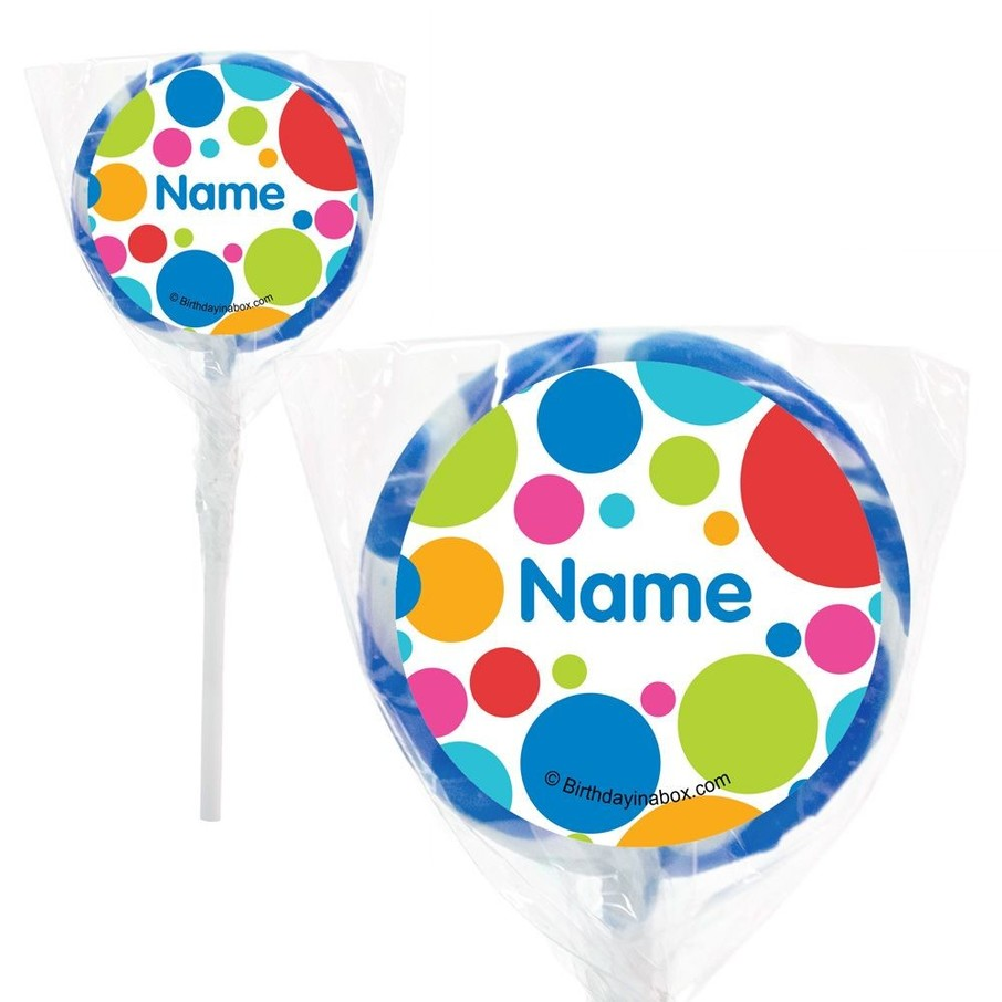 """View larger image of Polka Dot Party Personalized 2"""" Lollipops (20 Pack)"""