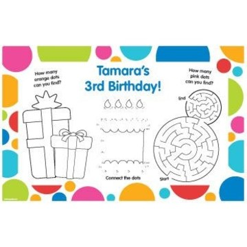 Polka Dot Party Personalized Activity Mats (8-pack)