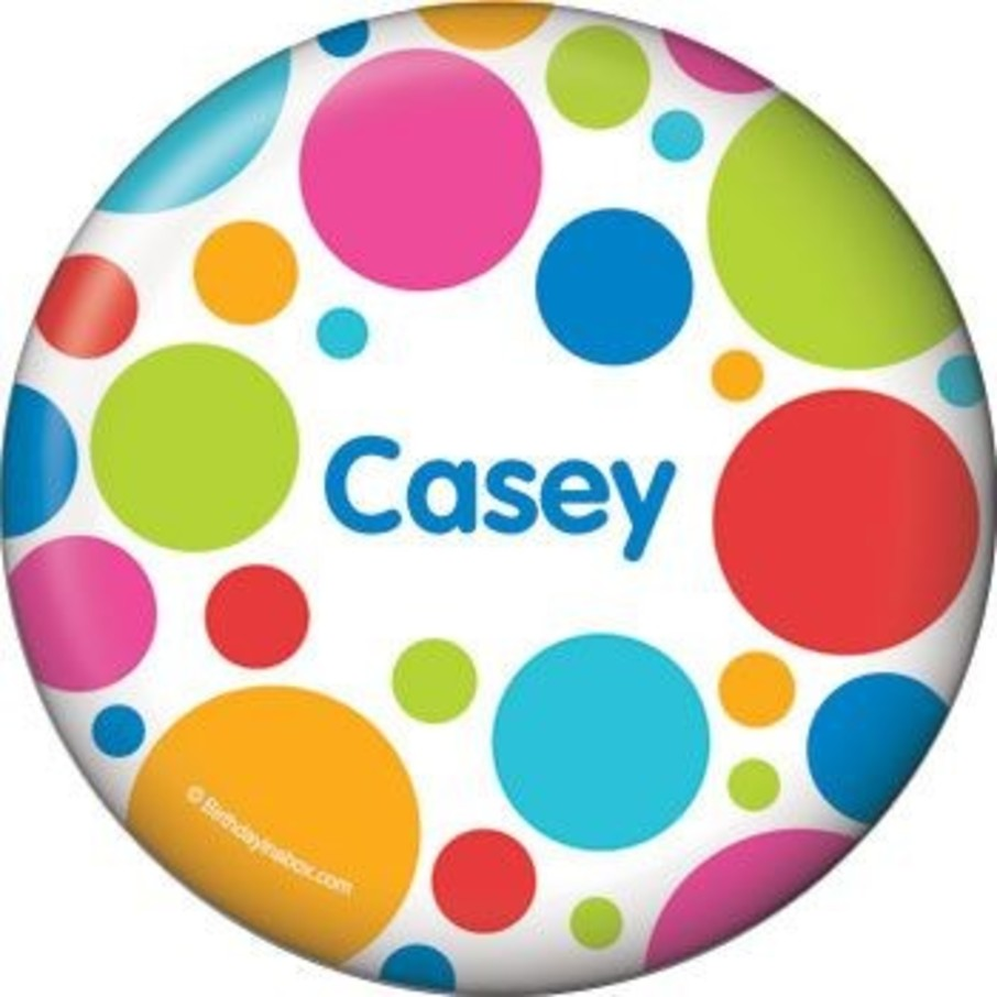 View larger image of Polka Dot Party Personalized Button (each)