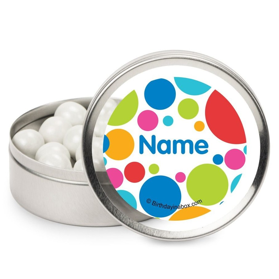 View larger image of Polka Dot Party Personalized Candy Tins (12 Pack)