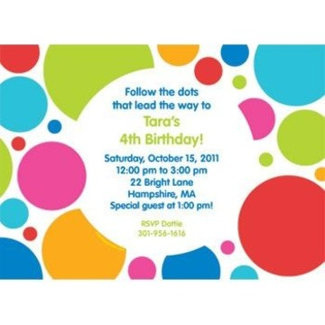 Polka Dot Party Personalized Invitation (each)