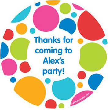 Polka Dot Party Personalized Stickers (sheet of 12)
