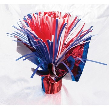 Pom Pom Red, White & Blue Balloon Weight Centerpiece