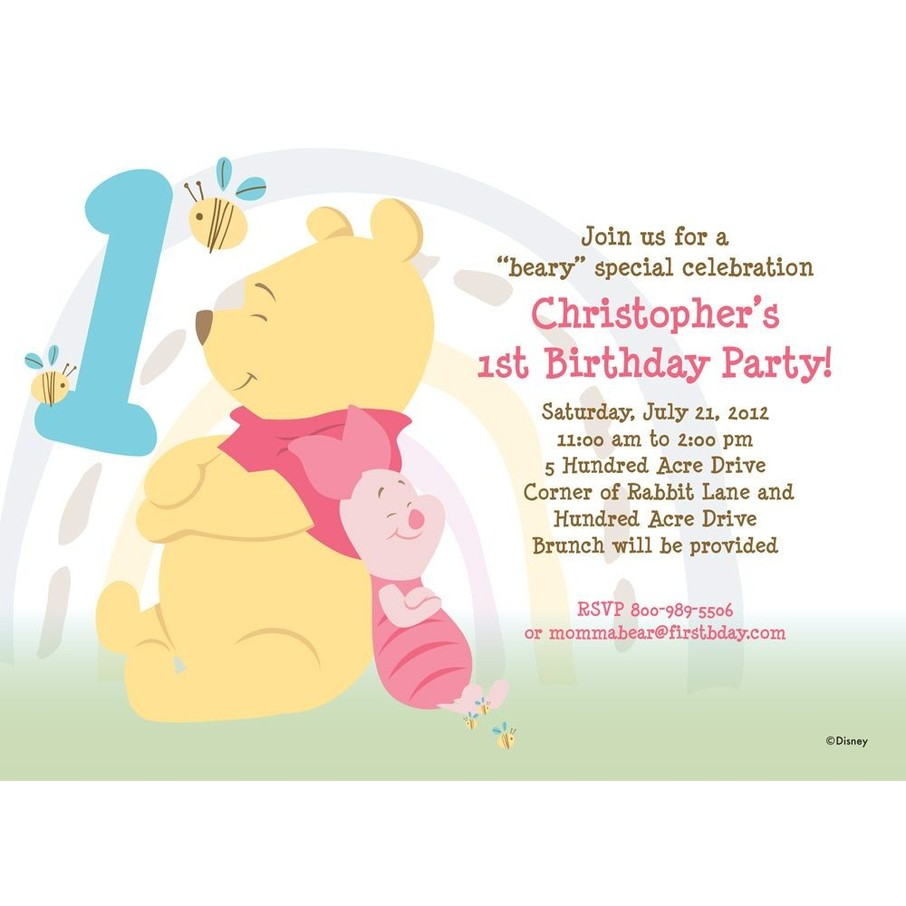 View larger image of Pooh Personalized Invitation (Each)