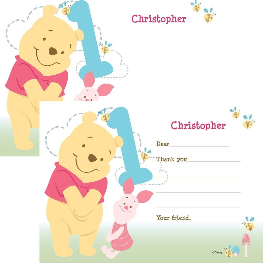 View larger image of Pooh Personalized Thank You Note (Each)