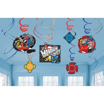 Power Rangers Hanging Foil Swirl Decorations (12 Pieces)