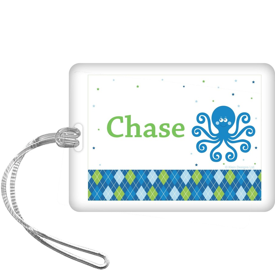 View larger image of Preppy Blue Ocean Party Personalized Bag Tag (each)