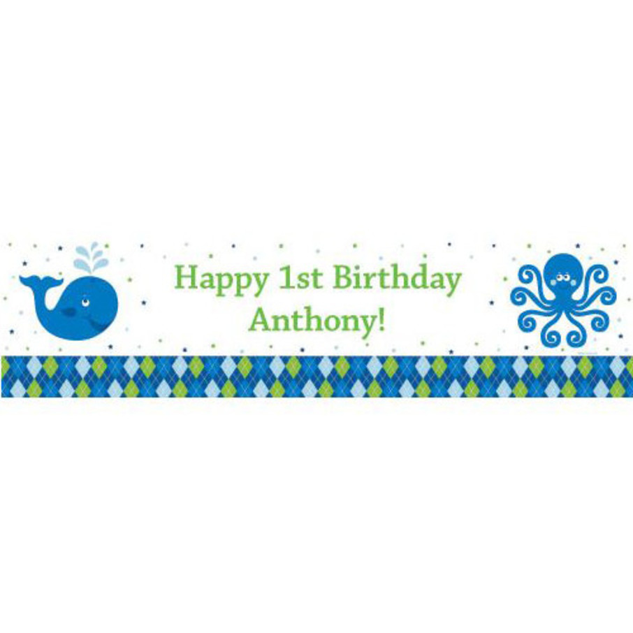 View larger image of Preppy Blue Ocean Party Personalized Banner (each)
