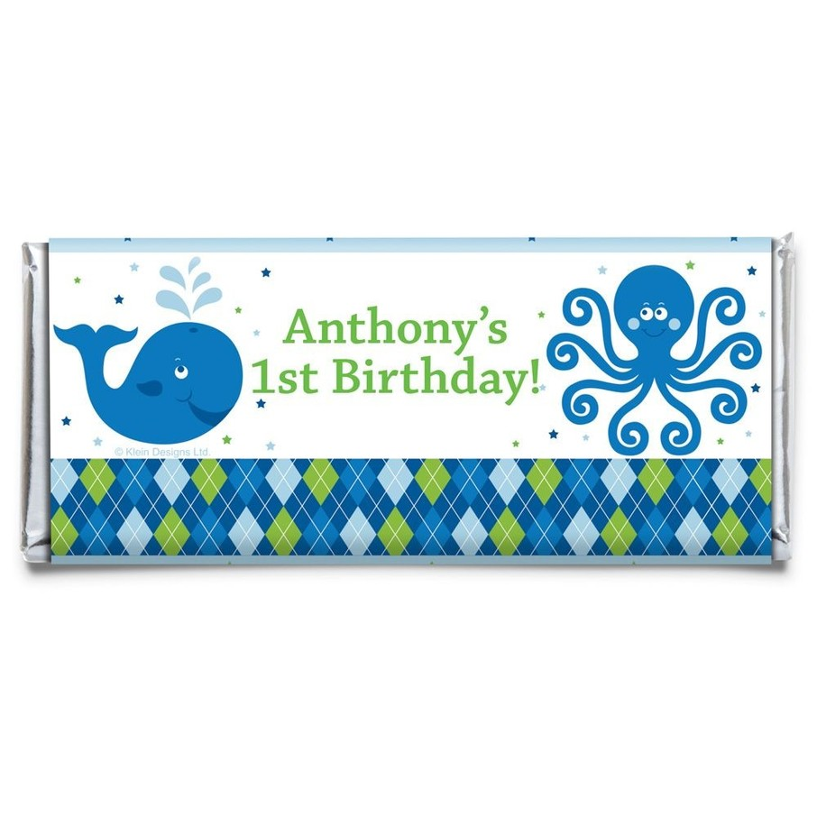 View larger image of Preppy Blue Ocean Party Personalized Candy Bar Wrapper (Each)