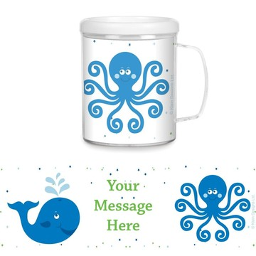 Preppy Blue Ocean Party Personalized Favor Mugs (Each)
