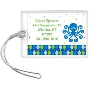 Preppy Blue Ocean Party Personalized Luggage Tag (each)