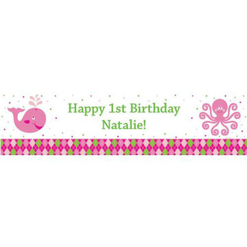 Preppy Pink Party Personalized Banner (each)