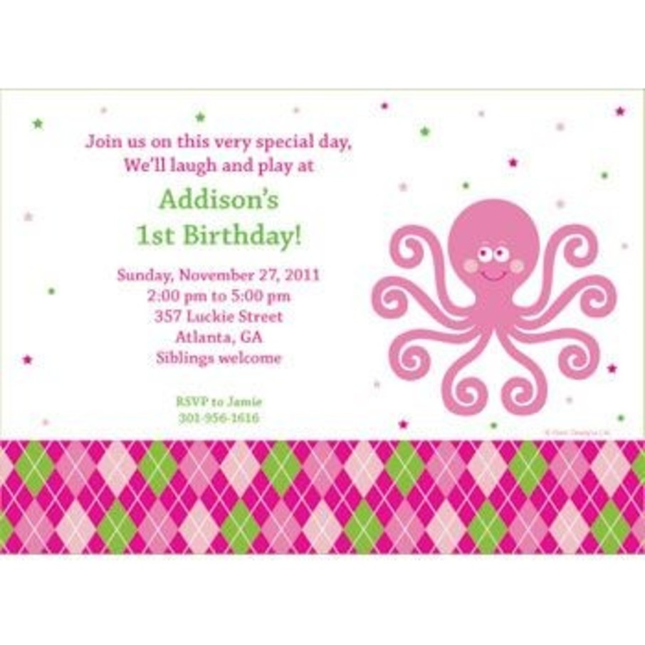 View larger image of Preppy Pink Party Personalized Invitation (each)