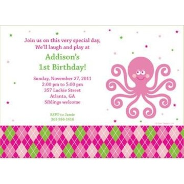 Preppy Pink Party Personalized Invitation (each)