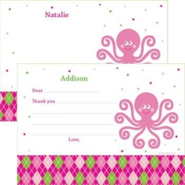 Preppy Pink Party Personalized Thank You Note (each)