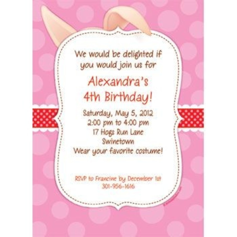 View larger image of Pretty Pig Personalized Invitation (each)