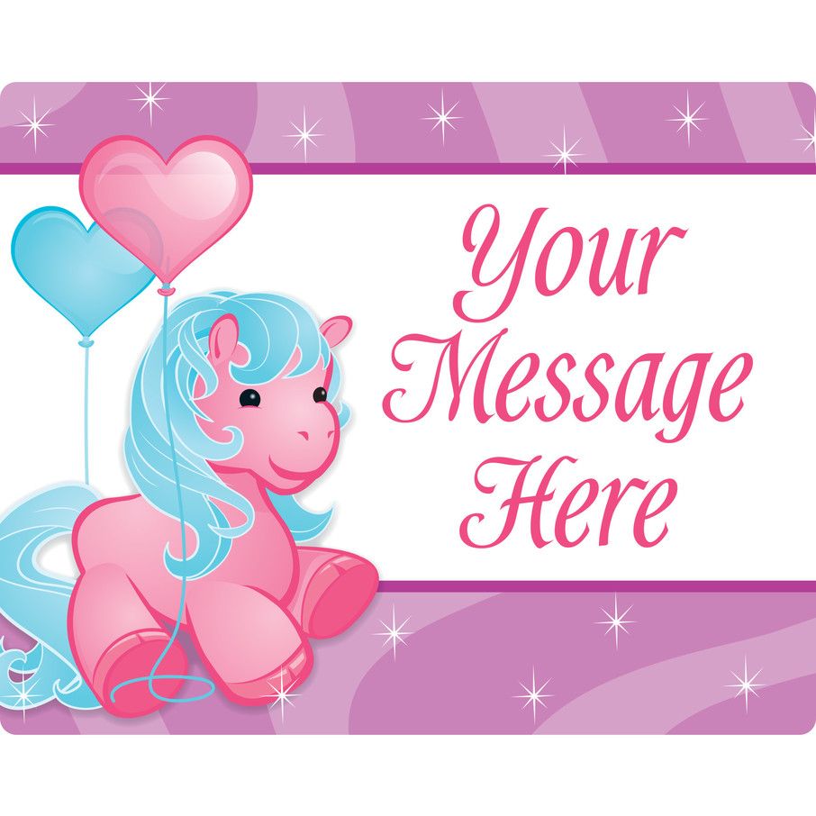 View larger image of Pretty Pony Personalized Rectangular Stickers (Sheet of 15)