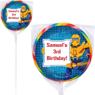 Prime Robot Personalized Lollipop (pack of 12)