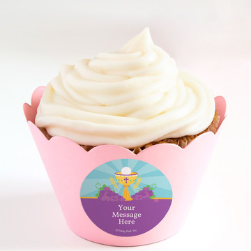 Primera Communion Personalized Cupcake Wrappers (Set of 24)