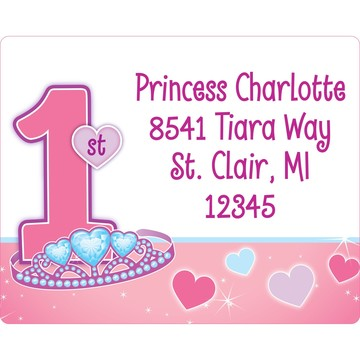 Princess 1st Birthday Personalized Address Label