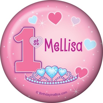 Princess 1st Birthday Personalized Button (each)