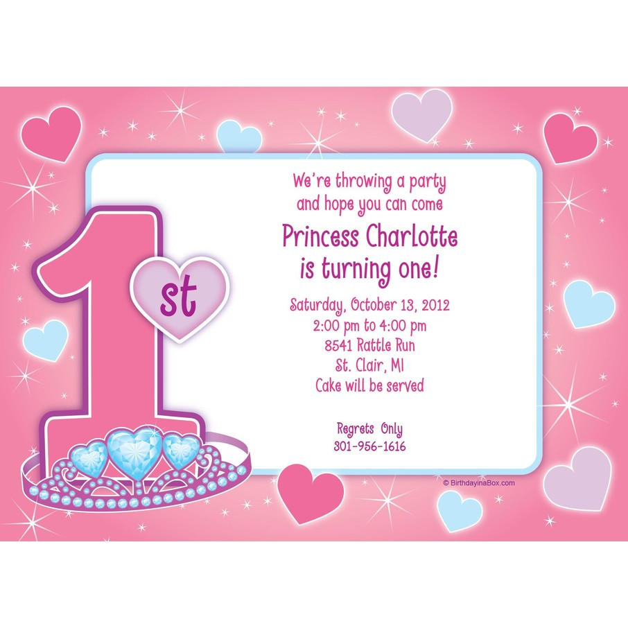 View larger image of Princess 1st Birthday Personalized Invitation (each)