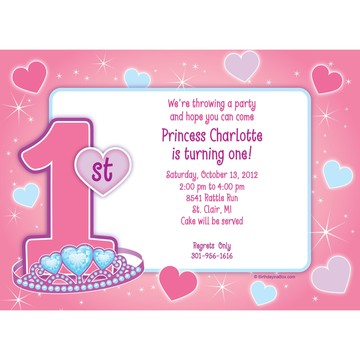Princess 1st Birthday Personalized Invitation (each)