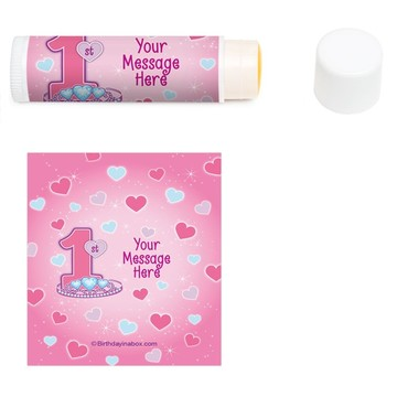 Princess 1st Birthday Personalized Lip Balm (12 Pack)