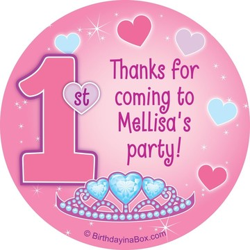 Princess 1st Birthday Personalized Sticker