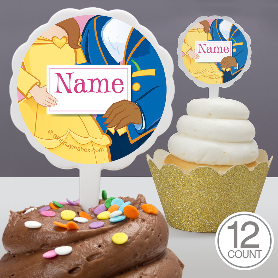 View larger image of Princess And Beast Personalized Cupcake Picks (12 Count)