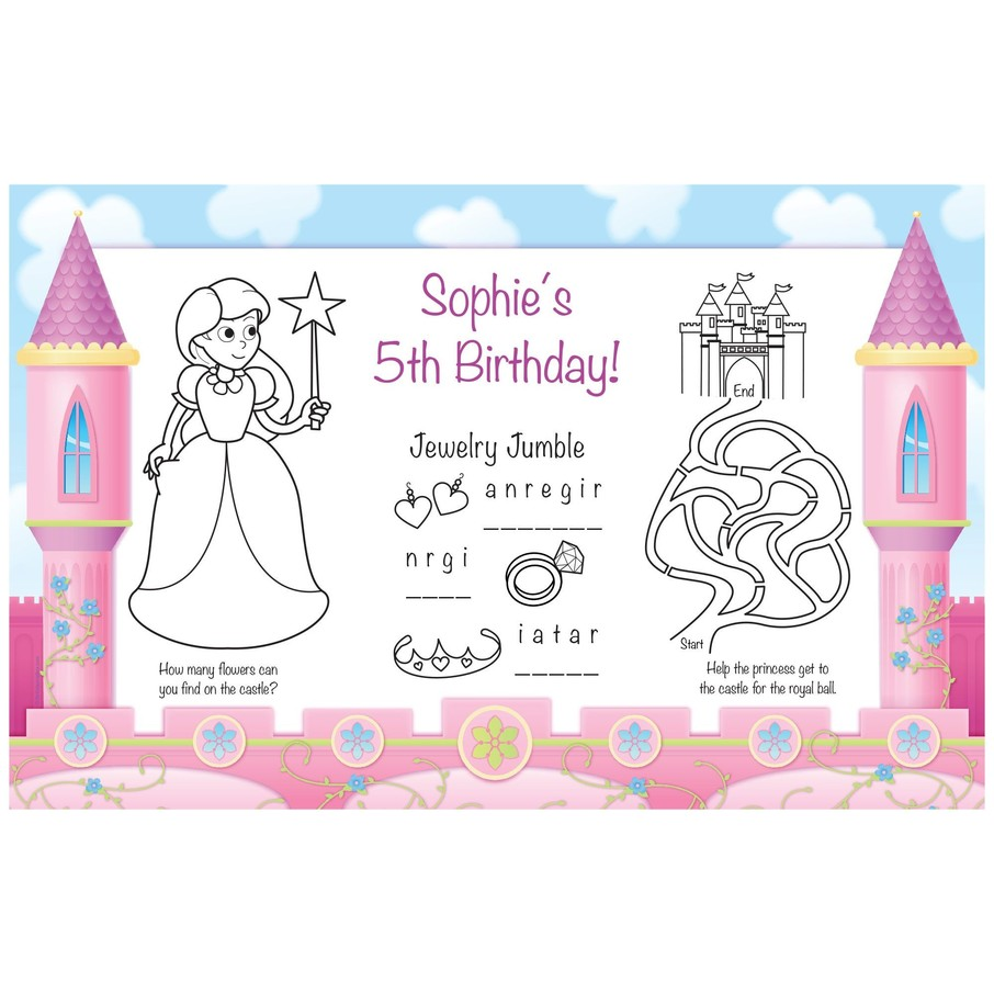 View larger image of Princess Personalized Activity Mats (8-pack)
