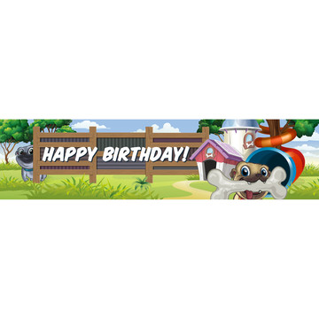 Pug Pals Happy Birthday Banner (Each)