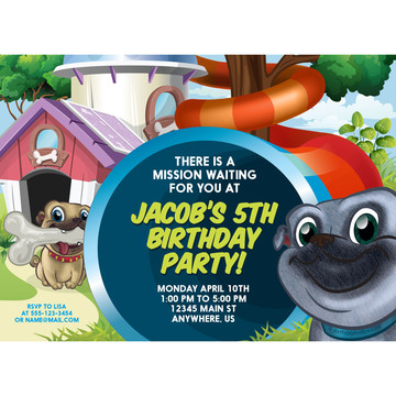 Pug Pals Personalized Invitation (Each)