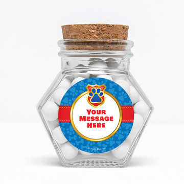 """Pup Command Personalized 3"""" Glass Hexagon Jars (Set of 12)"""