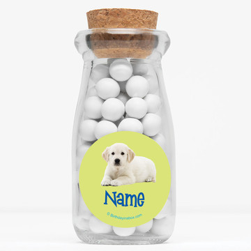 "Puppy Party Personalized 4"" Glass Milk Jars (Set of 12)"