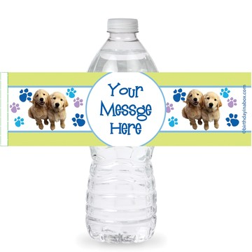 Puppy Party Personalized Bottle Labels (Sheet of 4)