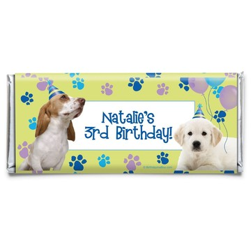 Puppy Party Personalized Candy Bar Wrapper (Each)