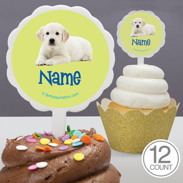 Puppy Party Personalized Cupcake Picks (12 Count)