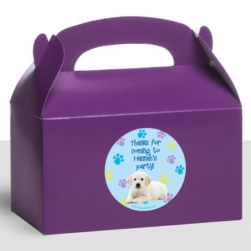 Puppy Party Personalized Treat Favor Boxes (12 Count)