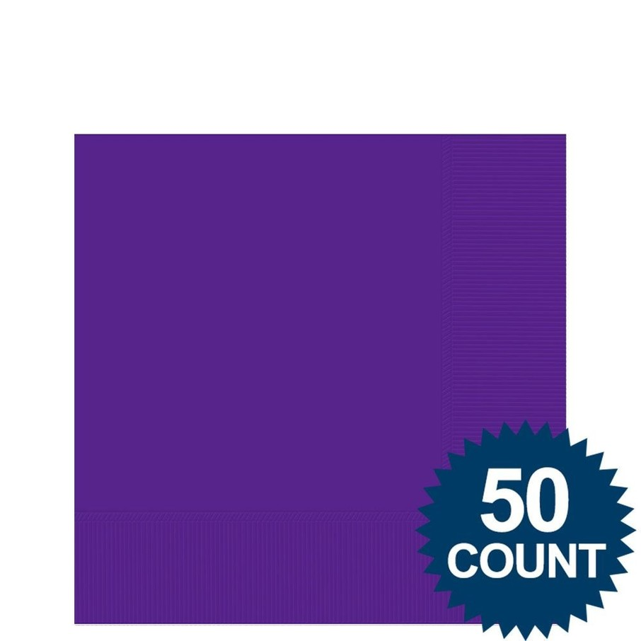 View larger image of Purple 2-Ply Beverage Napkins, 50ct.