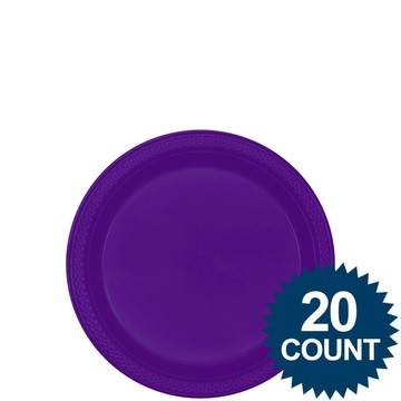 "Purple 7 "" Plastic Cake Plates (20 Pack)"