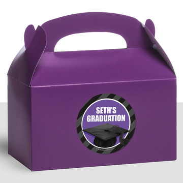 Purple Caps Off Graduation Personalized Treat Favor Boxes (12 Count)