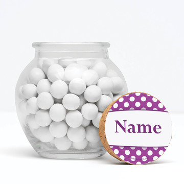 """Purple Dots Personalized 3"""" Glass Sphere Jars (Set of 12)"""