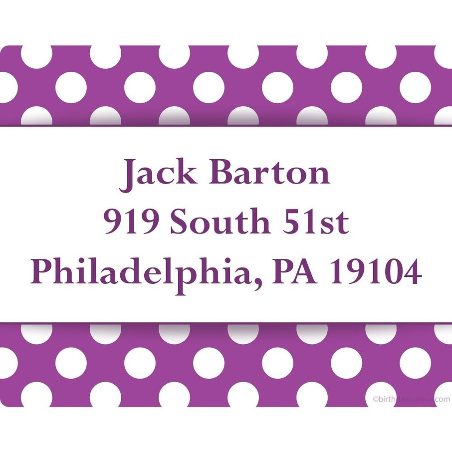 View larger image of Purple Dots Personalized Address Labels (Sheet of 15)