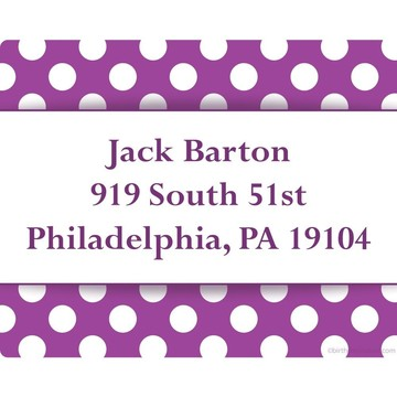 Purple Dots Personalized Address Labels (Sheet of 15)