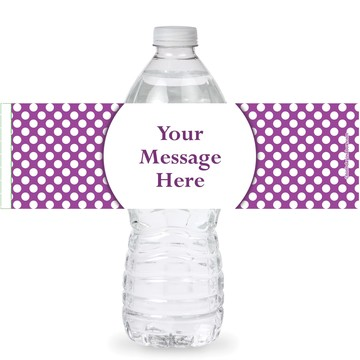 Purple Dots Personalized Bottle Labels (Sheet of 4)