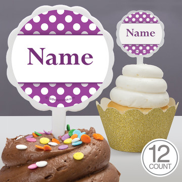 Purple Dots Personalized Cupcake Picks (12 Count)