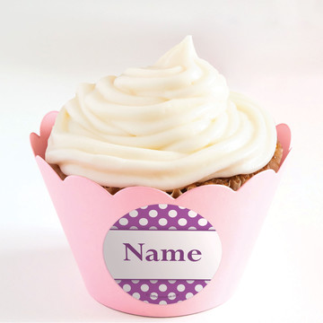 Purple Dots Personalized Cupcake Wrappers (Set of 24)